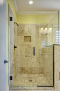 Tiled Shower Enclosed in Glass